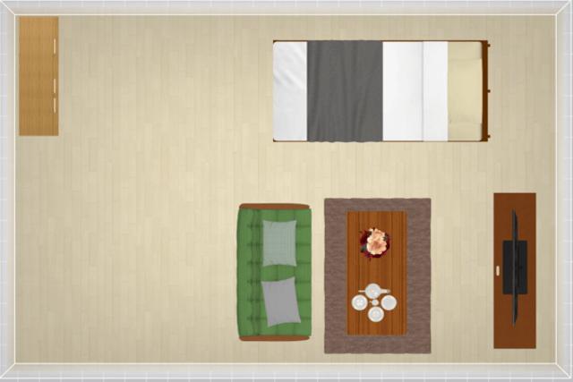11畳にシングルベッドを配置したレイアウト