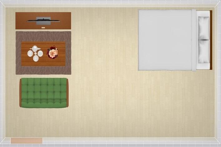12畳にセミダブルベッドを配置したレイアウト