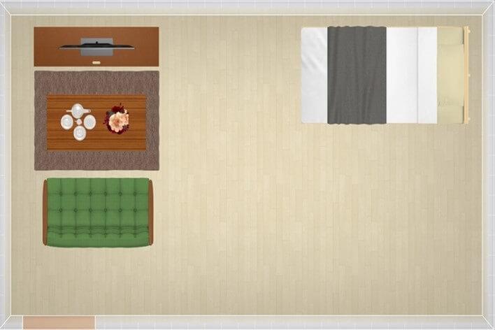 12畳にシングルベッドを配置したレイアウト