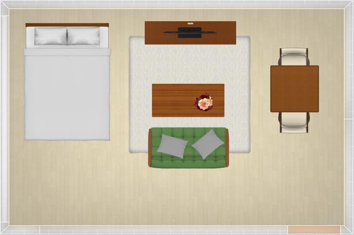 寝室とリビングダイニングを兼ね備えた定番レイアウト