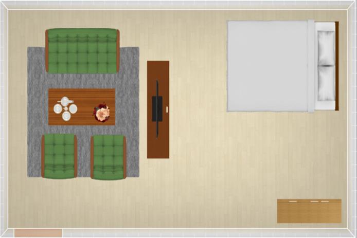 13畳にセミダブルベッドを配置したレイアウト