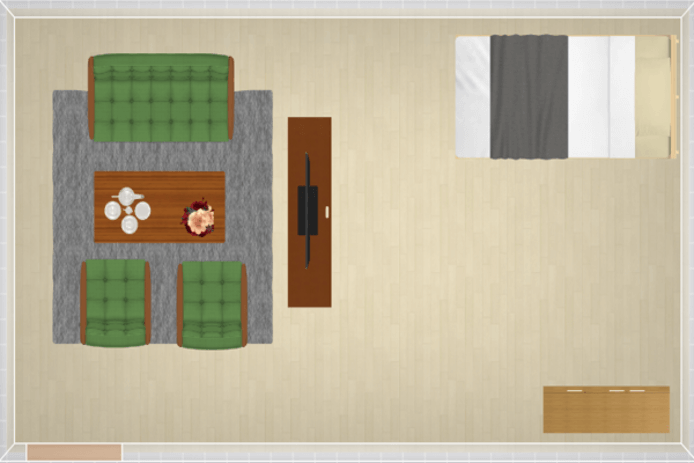 13畳にシングルベッドを配置したレイアウト