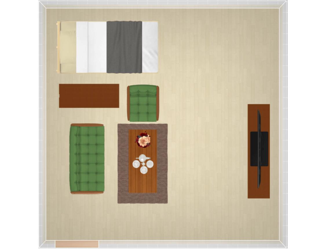 家具で生活空間を分けたレイアウト