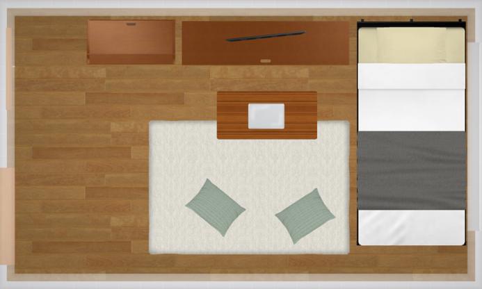L字に家具を配置したレイアウト