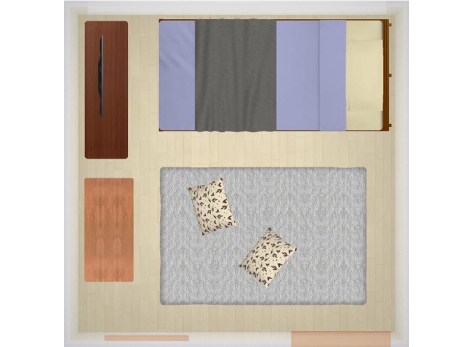 5畳にシングルベッドを配置したレイアウト