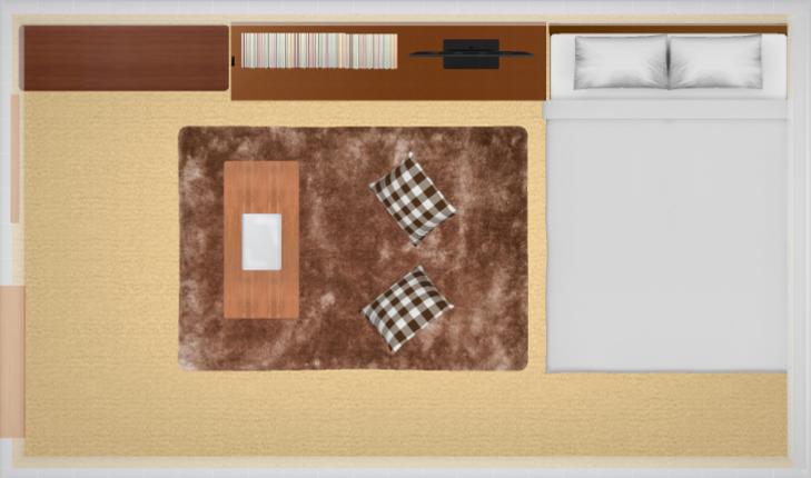 7畳にセミダブルベッドを配置したレイアウト
