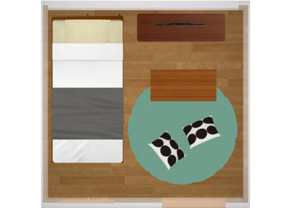 4畳半にシングルベッドを配置したレイアウト