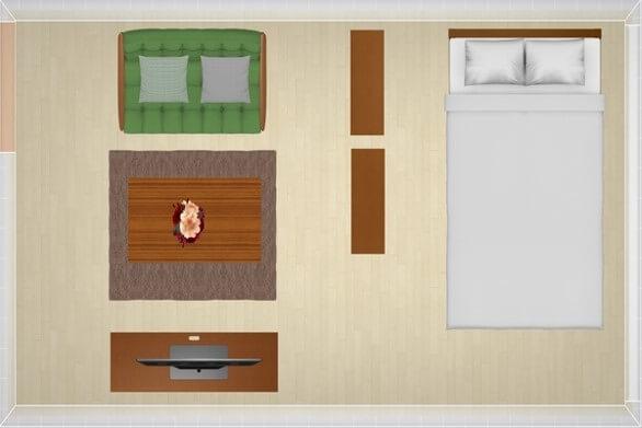 9畳にセミダブルベッドを配置したレイアウト