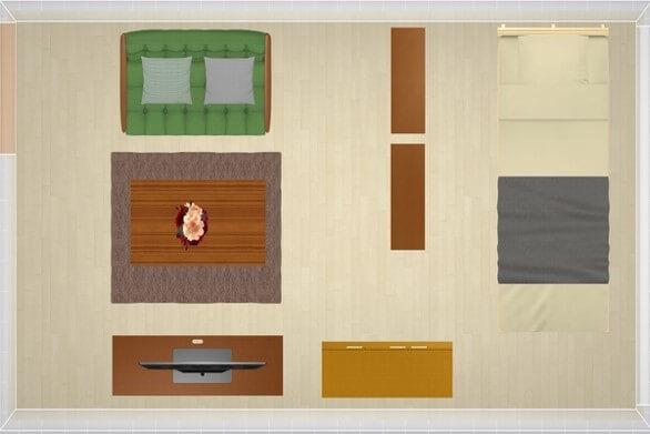 9畳にシングルベッドを配置したレイアウト