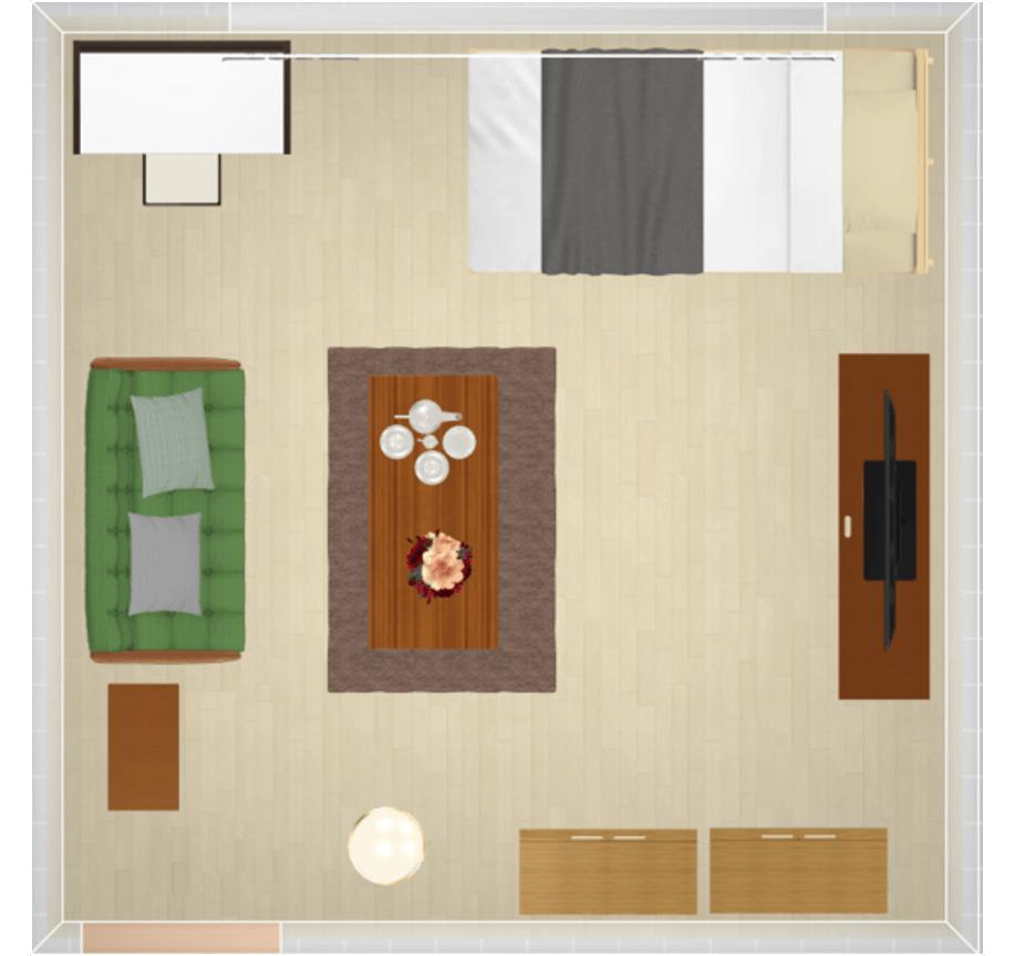 大きい家具を壁際に配置したレイアウト