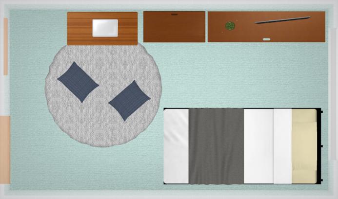 6畳にシングルベッドを配置したレイアウト