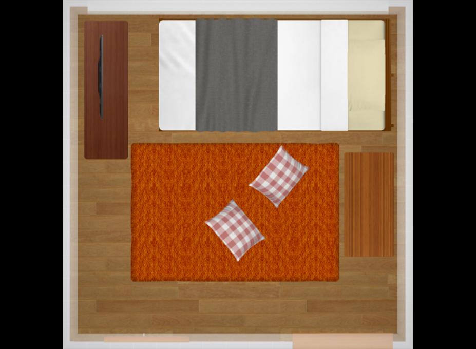 お部屋の半分に家具を集中させたレイアウト