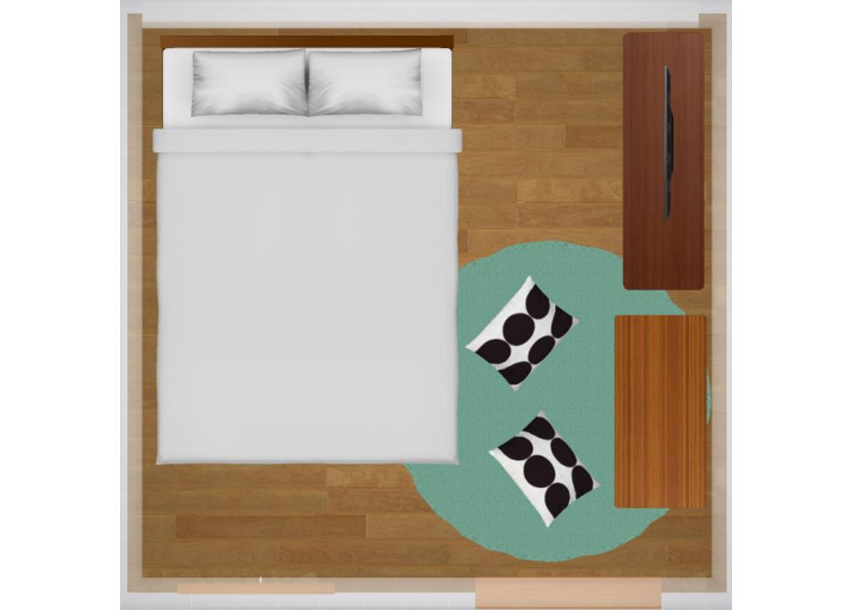 4畳半にセミダブルベッドを配置したレイアウト