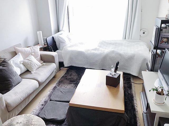 一人暮らしの部屋にソファーを置いたレイアウト