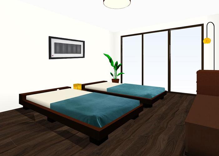 シングルベッドを2台置くレイアウト