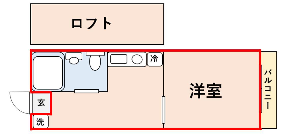 ロフトがあるお部屋の専有面積の測り方