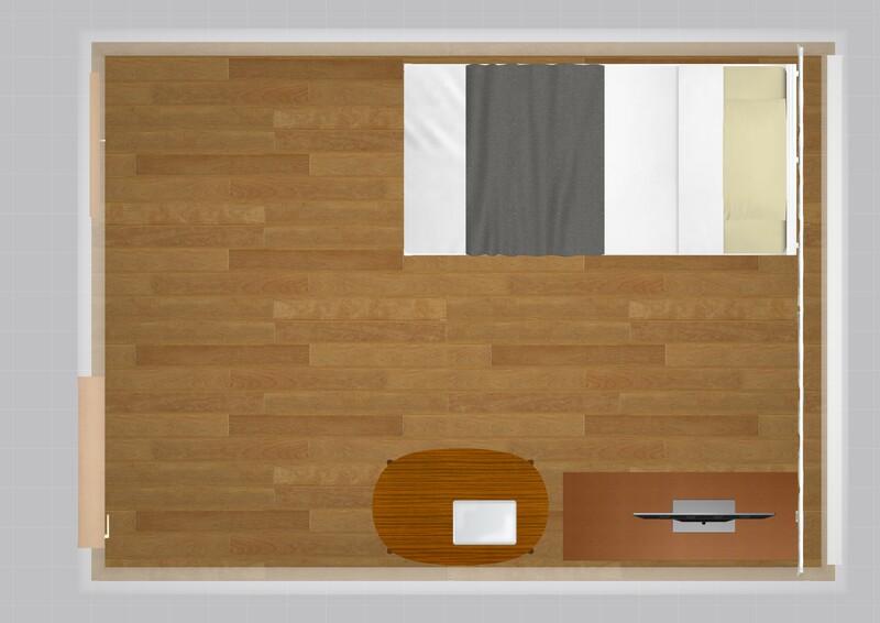 20平米のお部屋の家具配置例