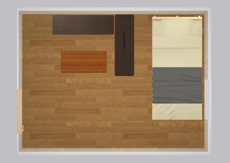 20平米の家具配置シミュレーション