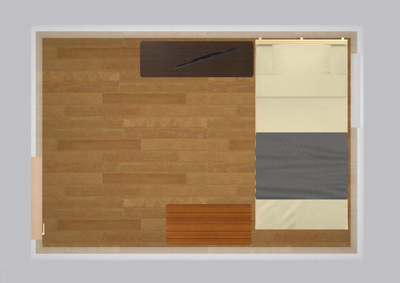 15平米の家具配置シミュレーション