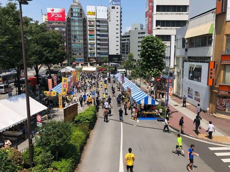 五反田駅東口前のロータリーを上からみた景色