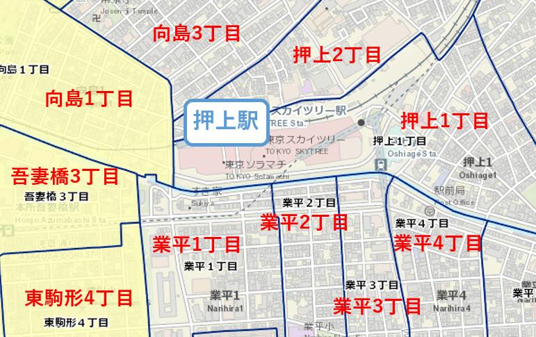 押上駅周辺の粗暴犯の犯罪件数マップ