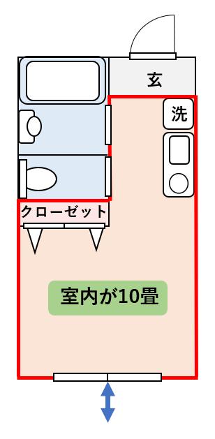 10畳ワンルームの間取り図2