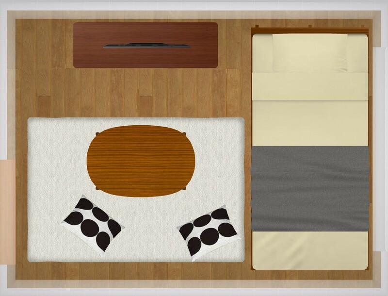 10平米のお部屋の家具配置シミュレーション