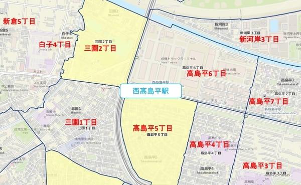 西高島平駅周辺の粗暴行為マップ