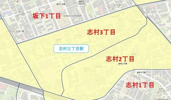 志村三丁目駅周辺の粗暴行為分布図