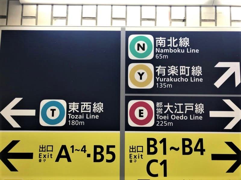 飯田橋駅構内各路線兼出口案内サイン1