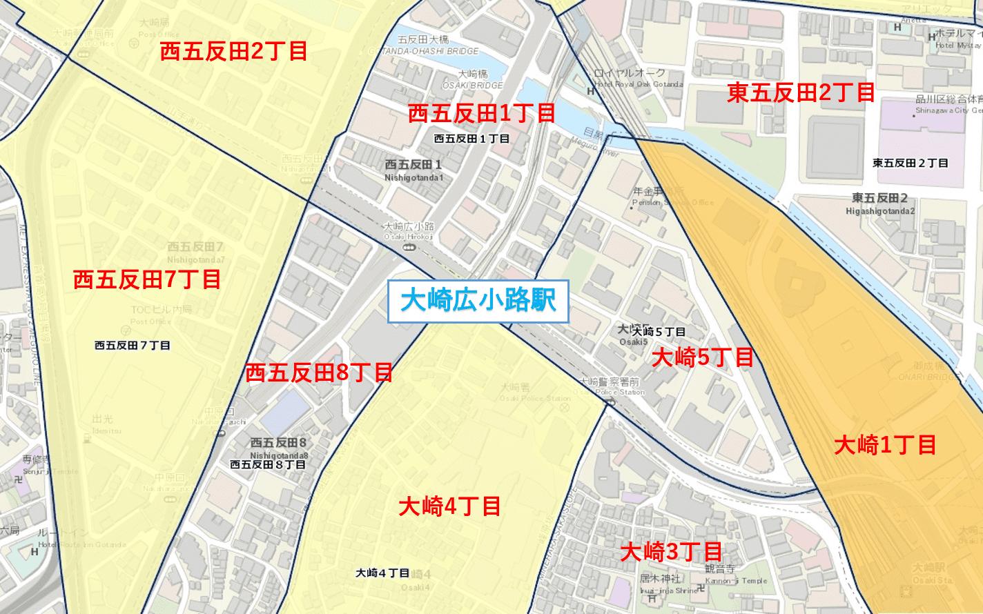 大崎広小路の犯罪発生マップ