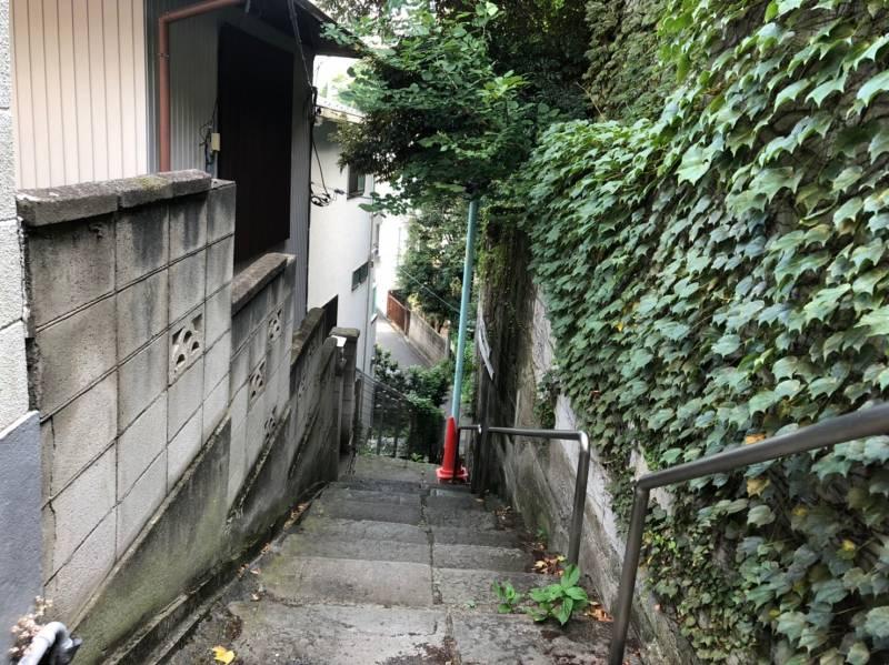 千駄木1丁目8番地の細い階段