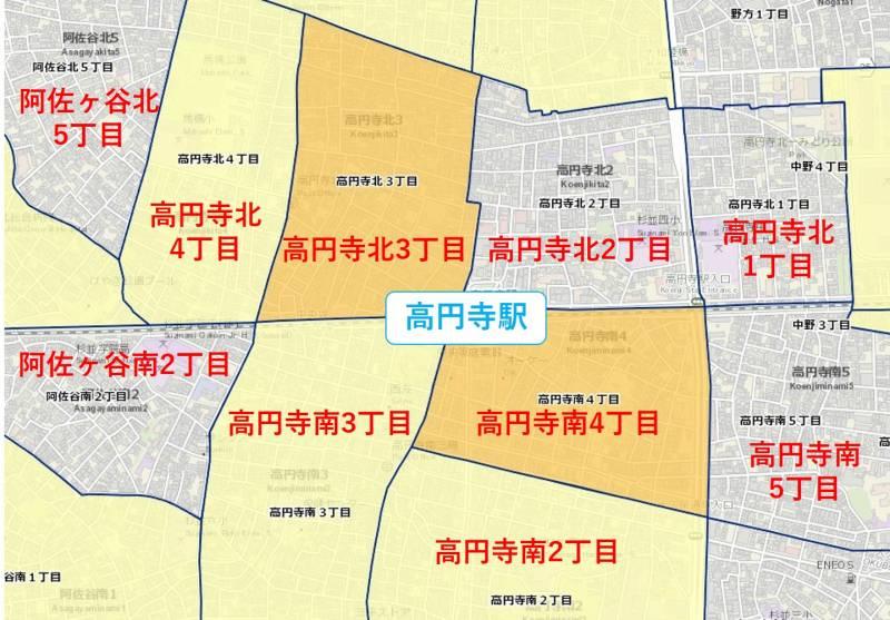 高円寺駅周辺の粗暴犯の犯罪件数マップ