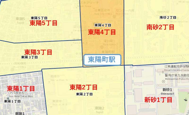 東陽町駅周辺の治安マップ