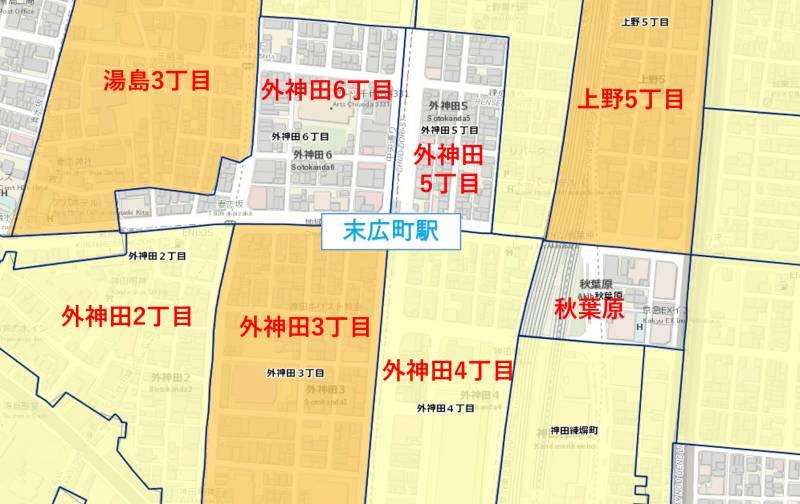 末広町駅周辺の犯罪件数マップ