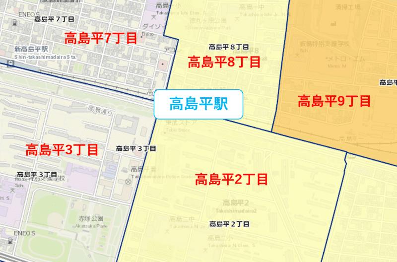 高島駅周辺の粗暴犯の犯罪件数マップ