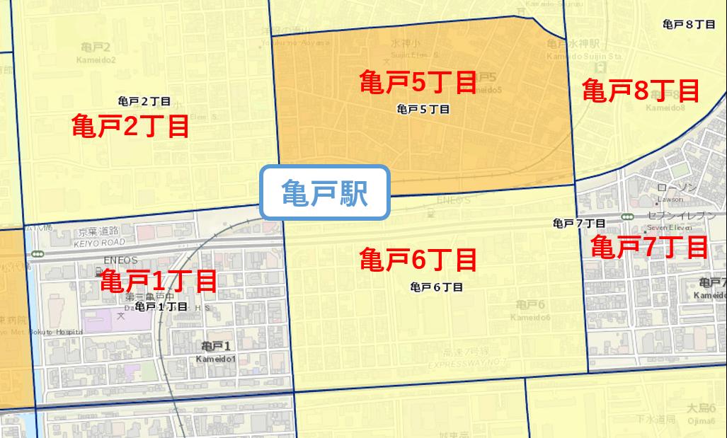 亀戸駅周辺の治安マップ