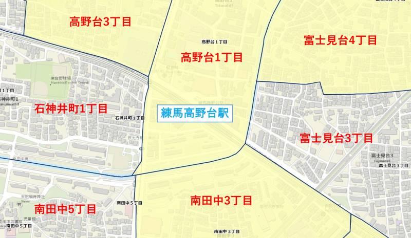練馬高野台駅周辺の犯罪件数マップ