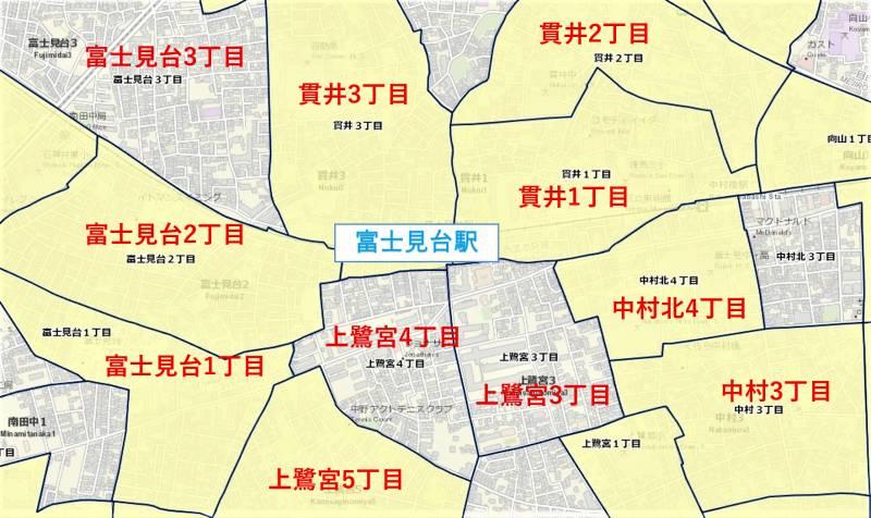富士見台駅周辺の粗暴犯の犯罪件数マップ