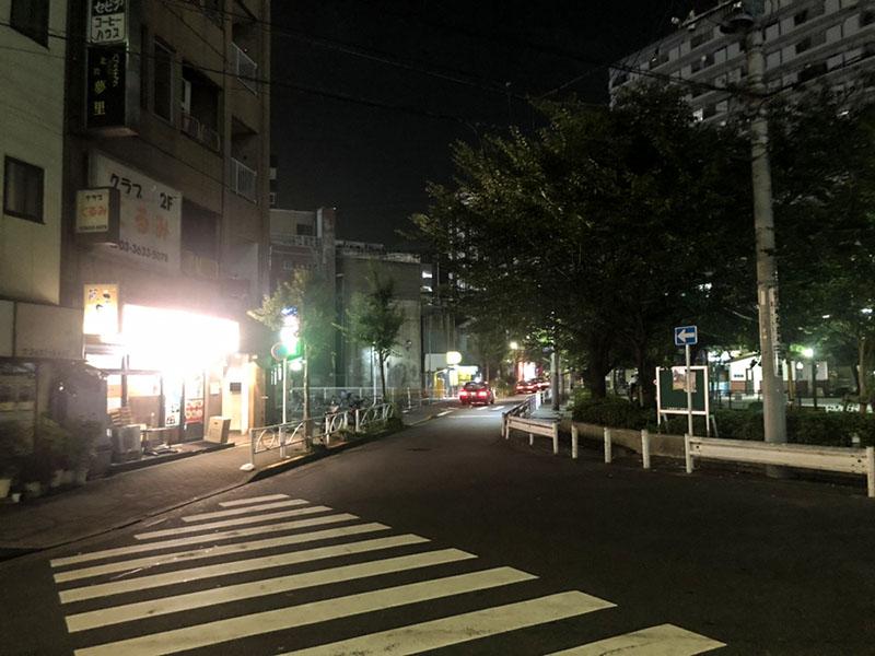 夜の錦糸堀公園側の風景