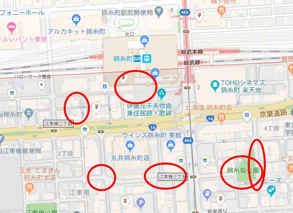 錦糸町南口周辺の夜の街並み撮影ヶ所のマップ
