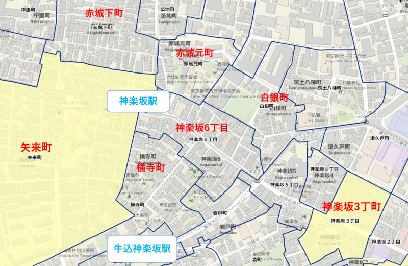 神楽坂駅周辺の粗暴犯マップ