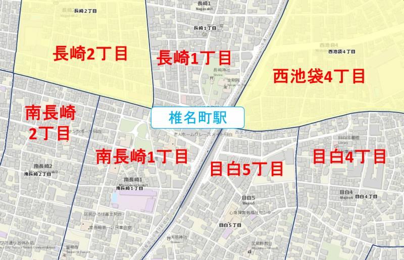 椎名町駅周辺の粗暴行為マップ