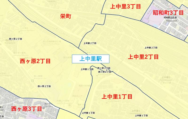 上中里駅周辺の粗暴行為発生マップ