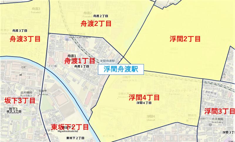 浮間舟渡駅周辺の粗暴事件発生マップ
