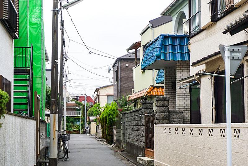 梅島東公園から北側の住宅