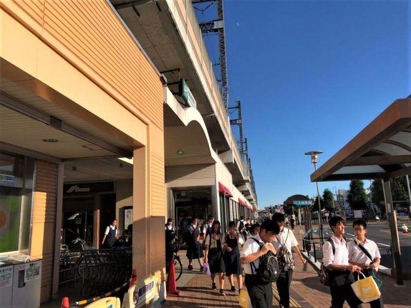 与野本町駅前の人ごみ