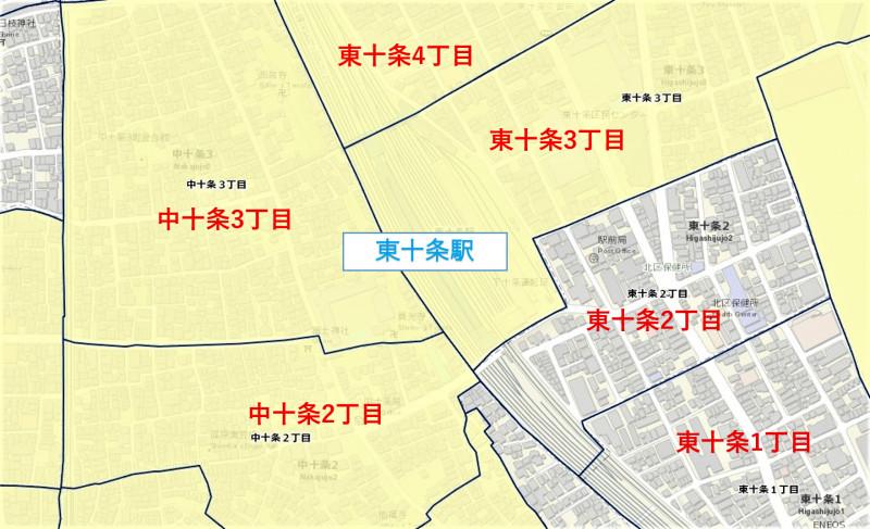 東十条駅周辺の粗暴犯の粗暴行為件数マップ