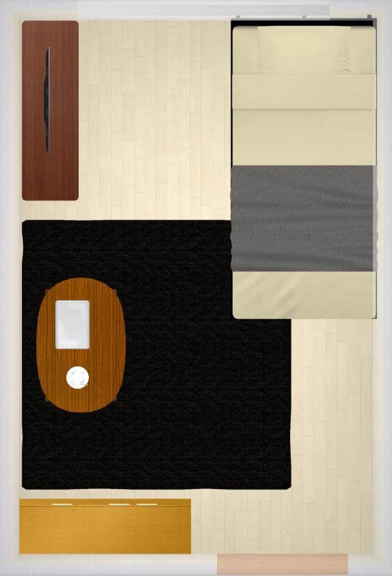 2Kの1部屋を男部屋にした家具配置例