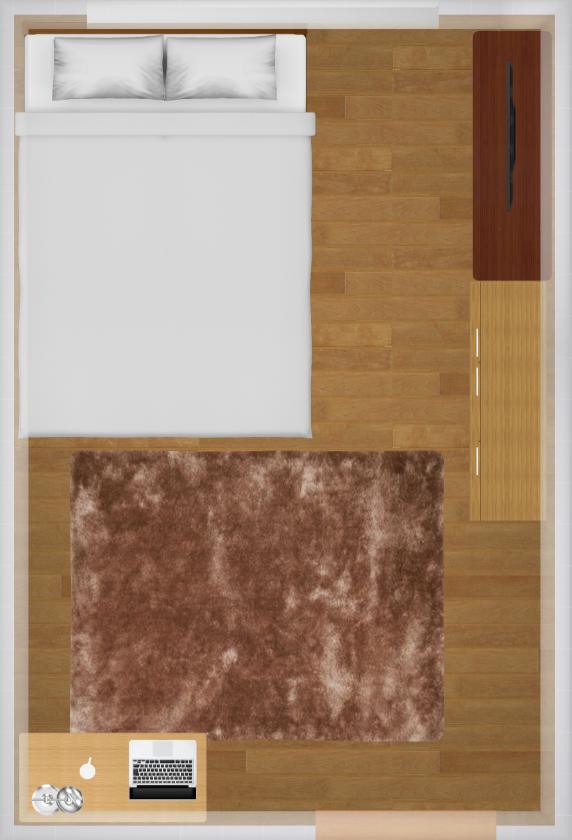 6畳にセミダブルベッドを置いた家具配置例